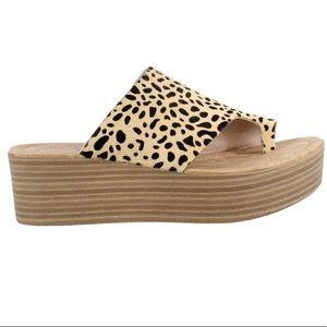 Blowfish Textured Leopard Print Wedge Sandal